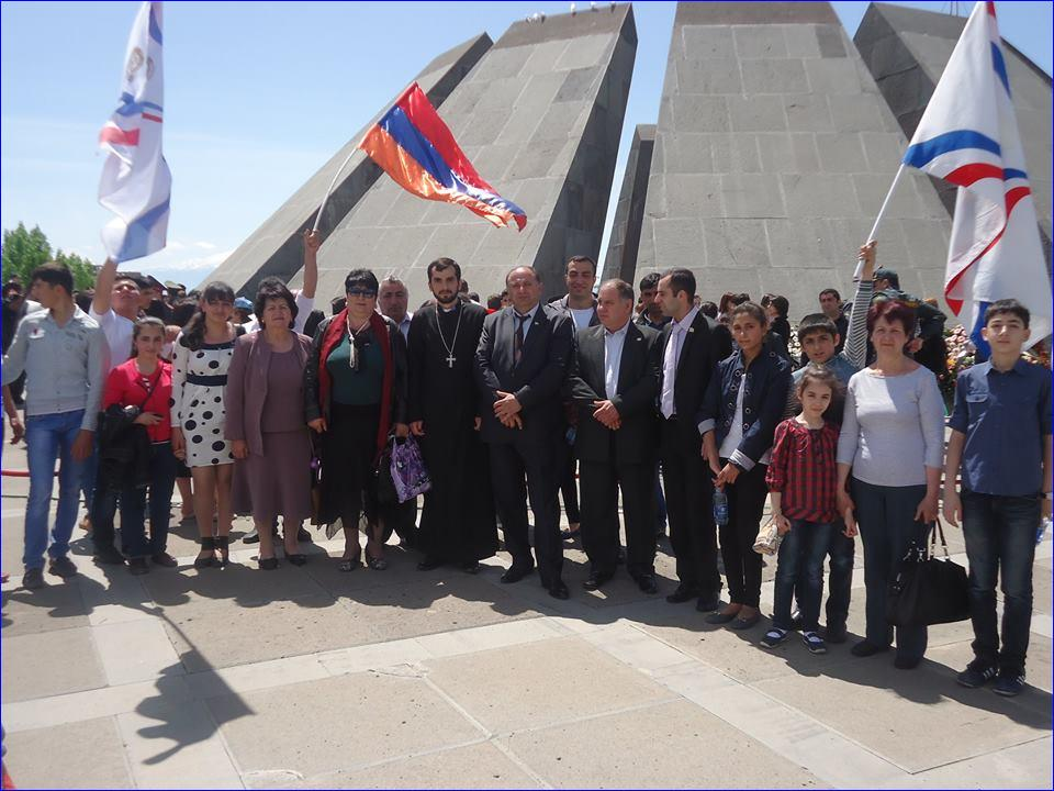 Assyrians at the Armenian Genocide Memorial in Yerevan, Armenia.