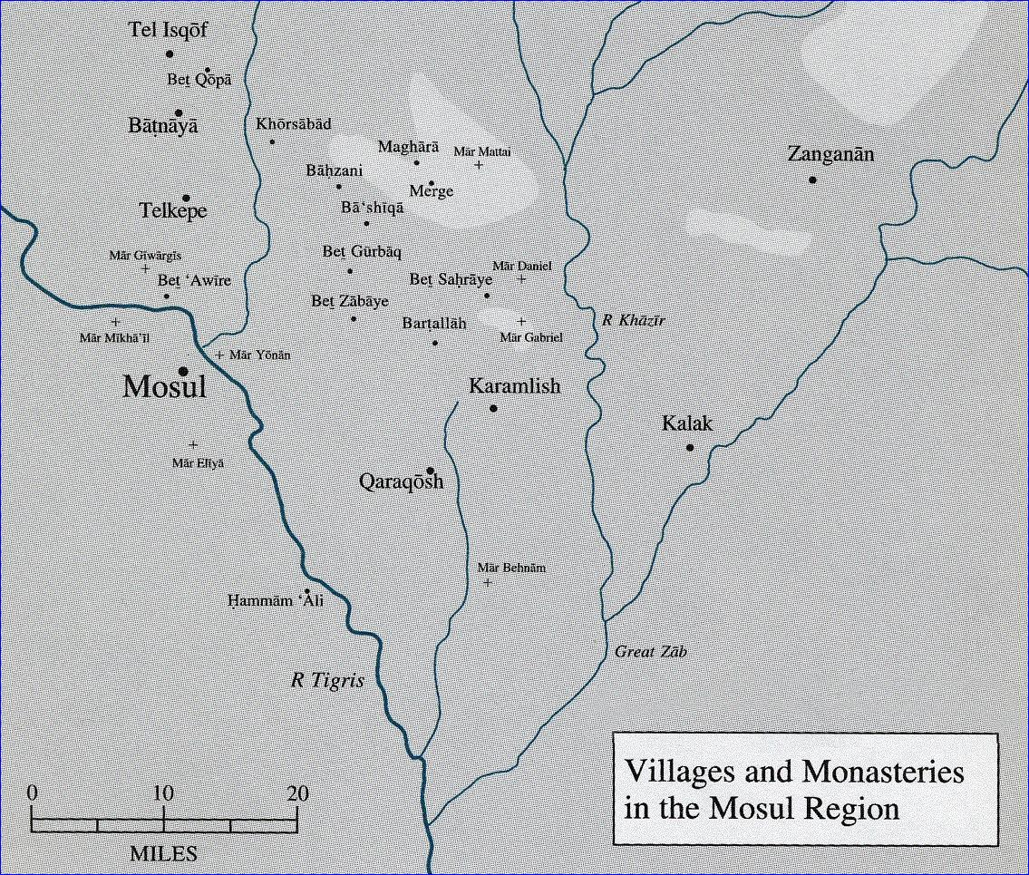 Karemlis (center) is in the Nineveh Plains north and east of Mosul, the last stronghold of Assyrians in Iraq.