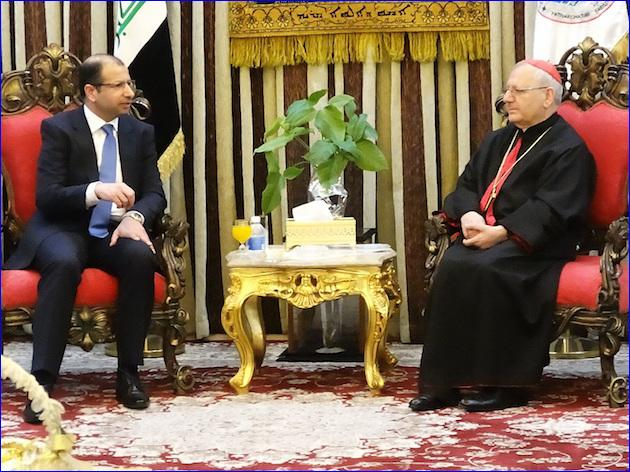 Patriarch Louis Raphael I Sako and the Speaker of the Iraqi parliament Salim al-Jubouri.