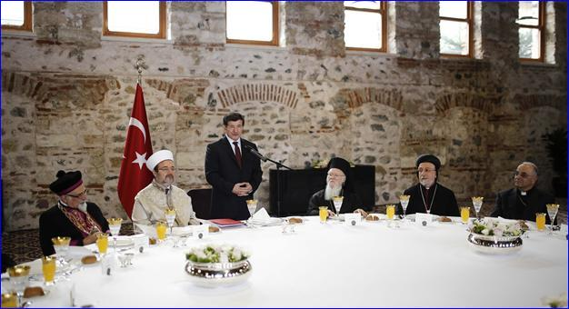 Prime Minister Davutolu hosts the religious leaders of the country (AA photo).