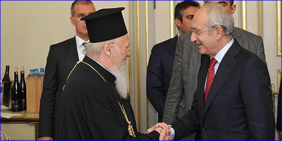 CHP leader Kemal K?l?çdaro?lu (R) shake hands with Greek Orthodox Patriarch Bartholomew in ?stanbul on Monday (Photo: Cihan).