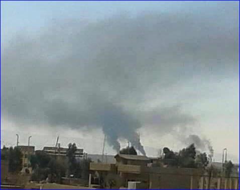 The Assyrian church of Mar Bisho on fire, in Tel Shamiran, Syria.
