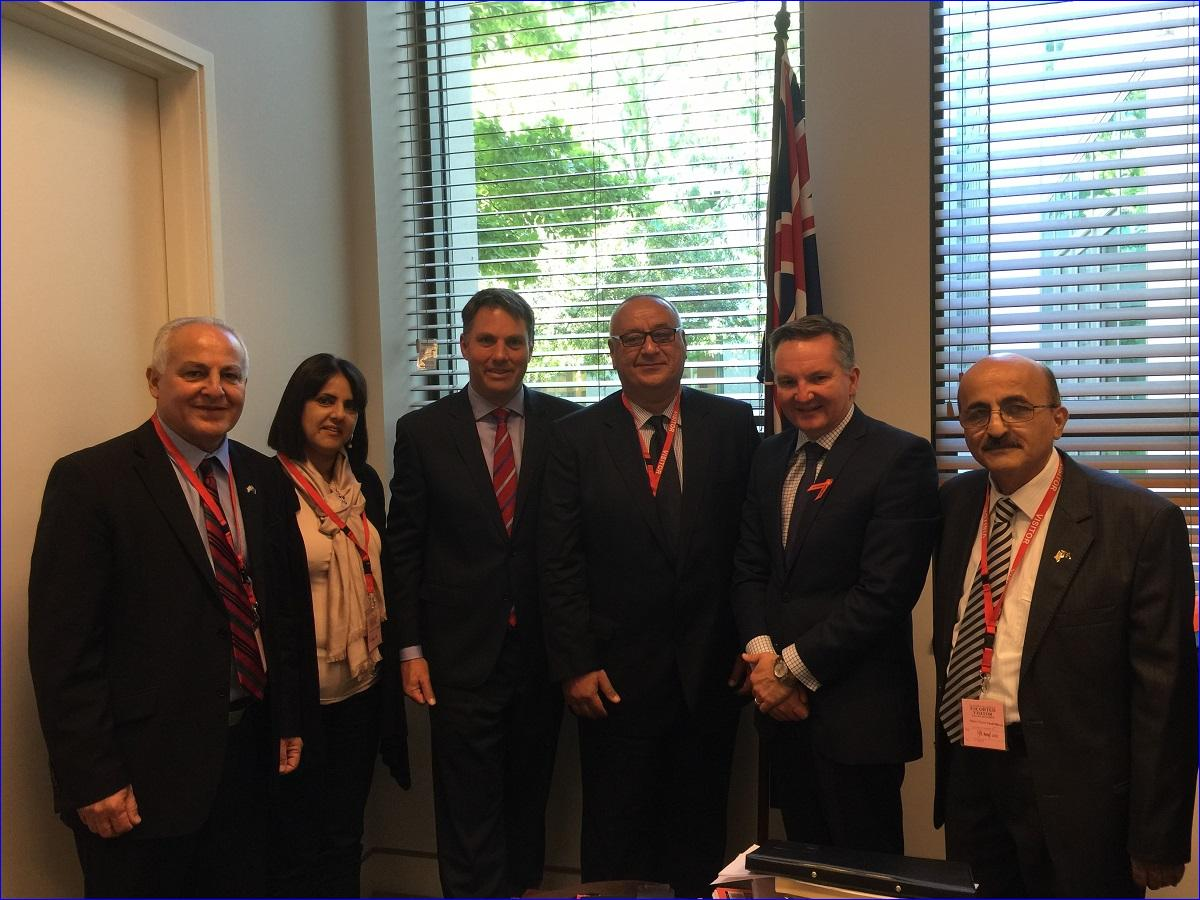 From left, David David, Suzy David, the Hon Richard Marles MP, Emmanuel Khoshaba, The Hon Chris Bowen MP, and Hermiz Shahen (AINA photo).