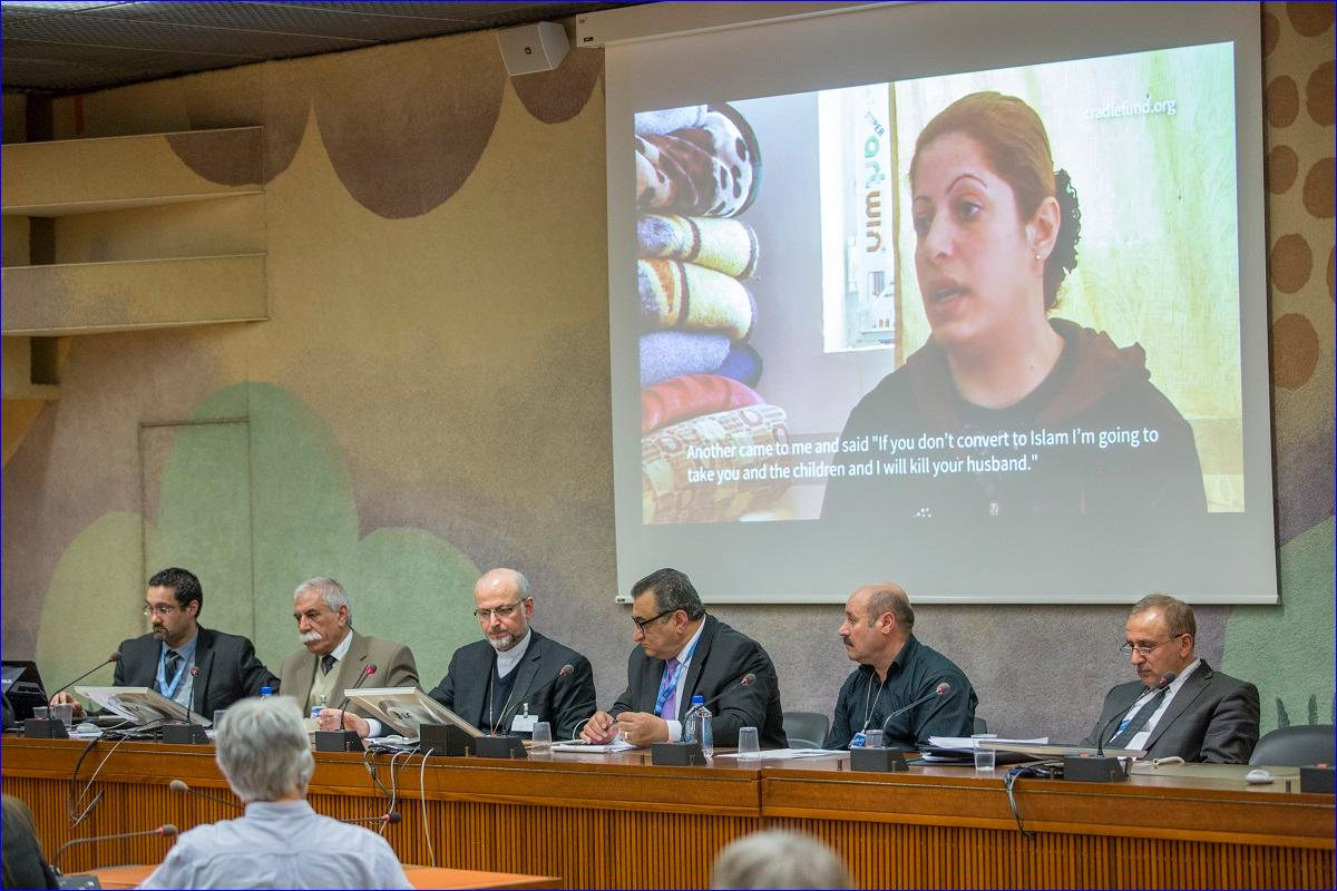 Panelists at the UNHRC conference in Geneva on Assyrians and Yazidis. From left to right: Michael Youash, Ali Seydo Rosso, H.G. Mar Odisho Oraham, Sam Darmo, Mahmud K. Feisel, Al Jasdin Osman.