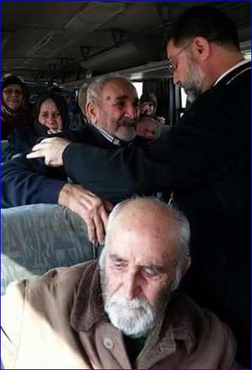 Assyrian hostages freed by ISIS on the bus to Tel Tamar, Syria.