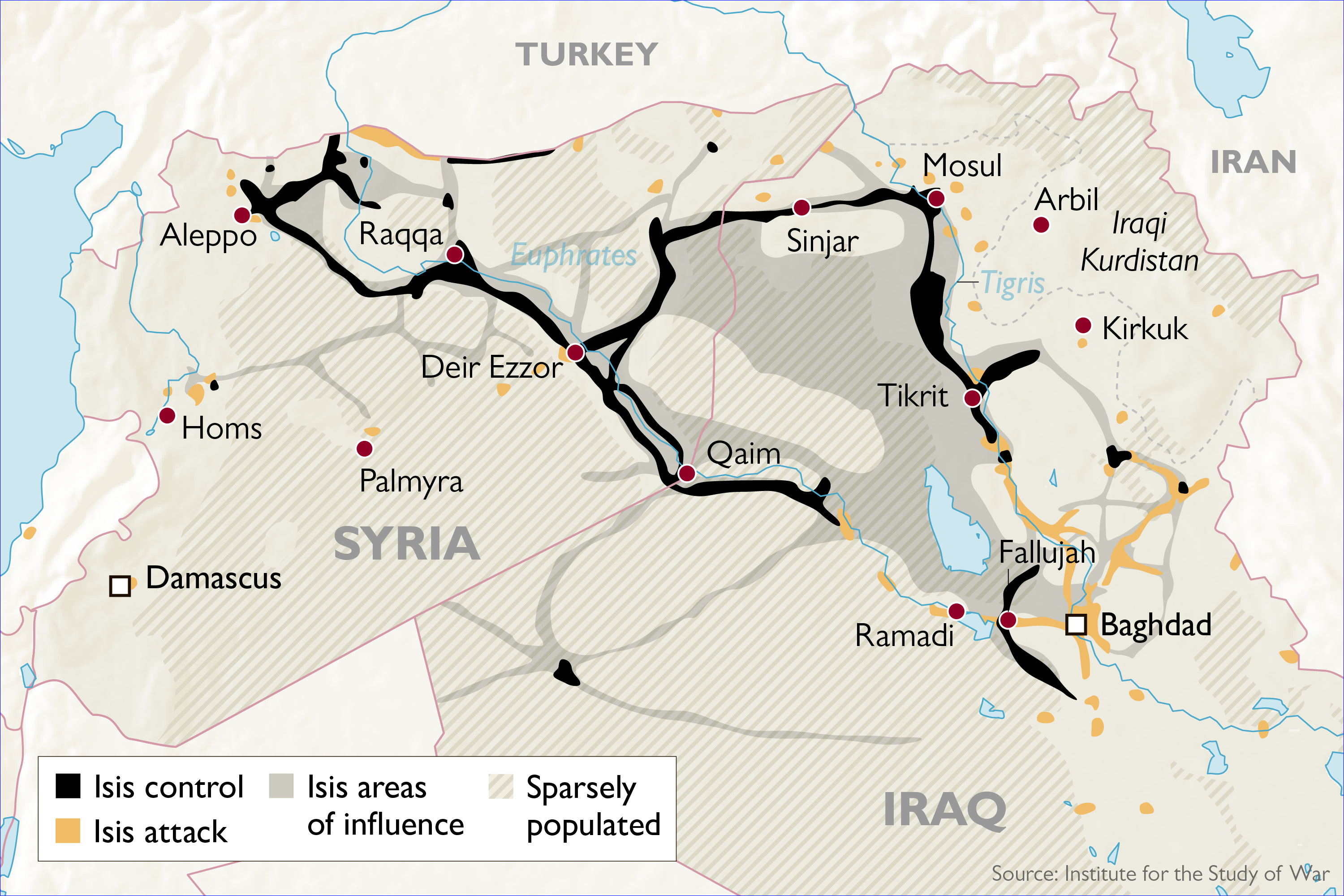 after the group surged across iraq taking key cities including tikrit and mosul and almost reaching baghdad and arbil the kurdish capital