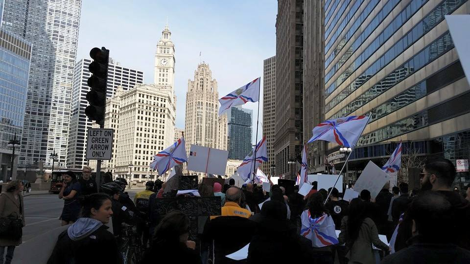 Assyrians in Chicago rally in support of Assyrians in Syria and Iraq.