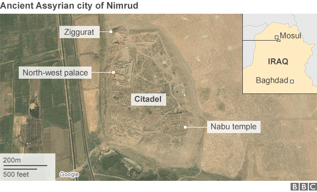 The ancient Assyrian city of Nimrud, which was destroyed by ISIS on March 5.