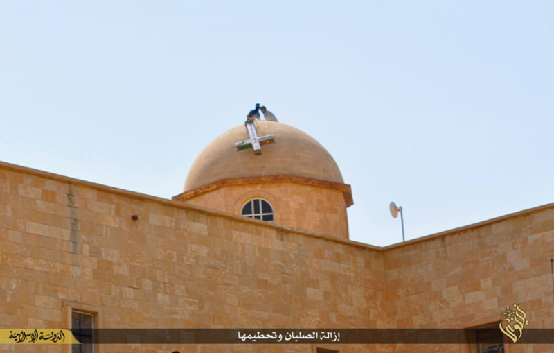 ISIS members destroying the St. George Catholic Monastery in Mosul, Iraq (photo: ISIS twitter).