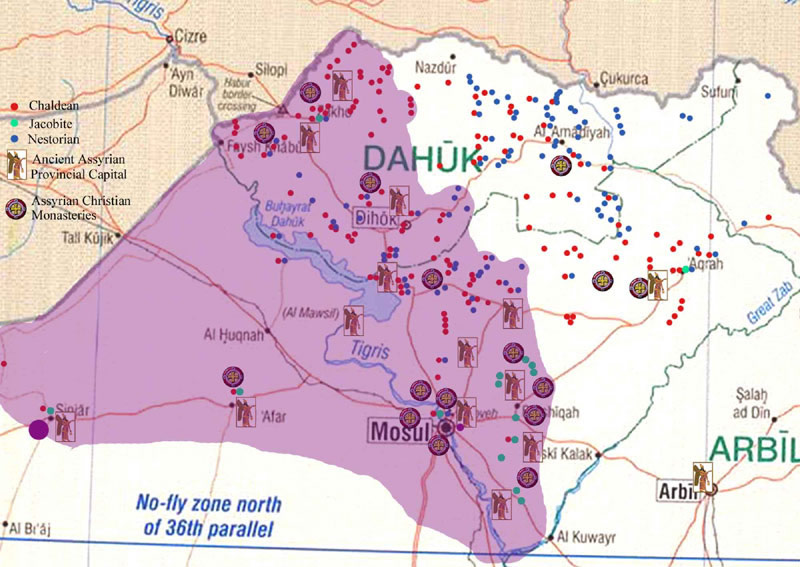 the proposed assyrian region within iraq use your mouse wheel to zoom